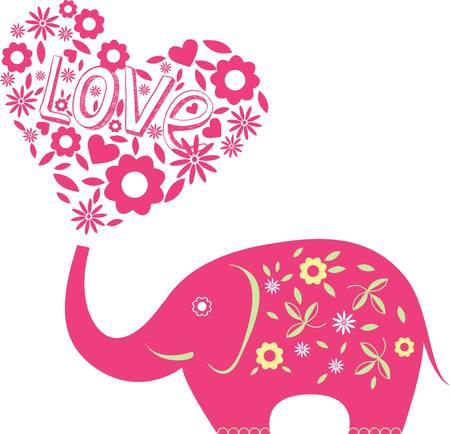 siluetas de elefantes: Resumen ilustraci�n con elefante y corazones