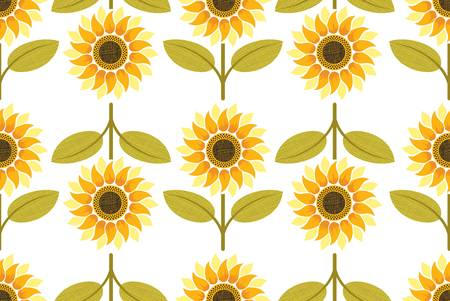yellow sunflower seamless pattern. Colorful illustration Vector