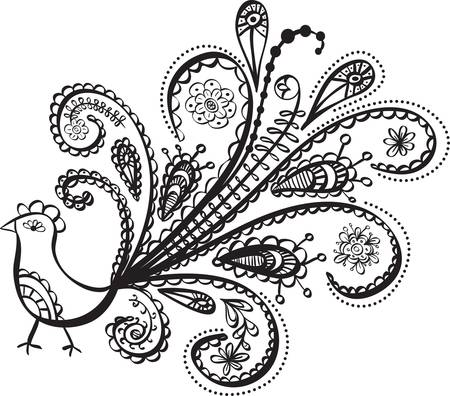 peacock bird line art. Illustration Vector