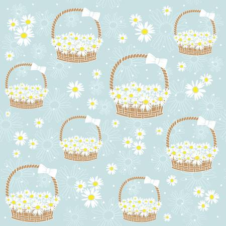 gift basket: gift basket with Flowers seamless background. Illustration