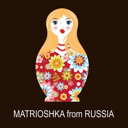 Traditional Russian matryoshka matrioshka doll, national style costume, illustration Vector
