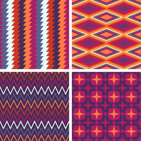 multi ethnic: Abstract pattern collection. Colorful illustration