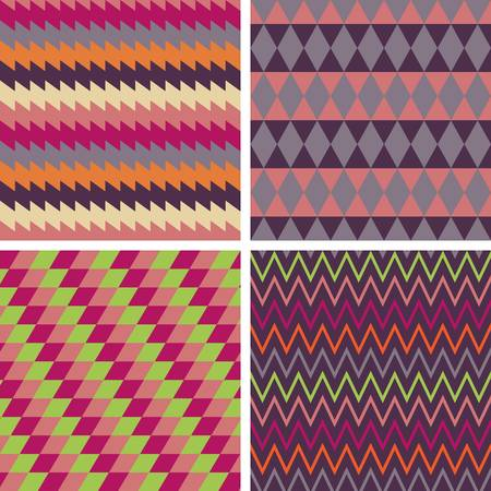 multi ethnic: Abstract geometric pattern collection. Colorful illustration