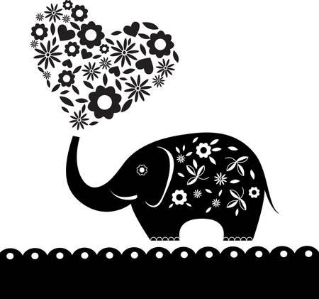 siluetas de elefantes: Elefante lindo con las flores. Corazón de la tarjeta. Ilustración.