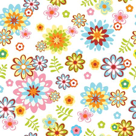 outline flower: cute abstract seamless floral pattern. Colorful illustration
