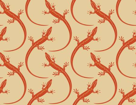 lizards seamless wallpaper pattern  Colorful illustration Vector