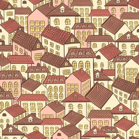 tile roof: seamless citt� case cioccolato illustrazione