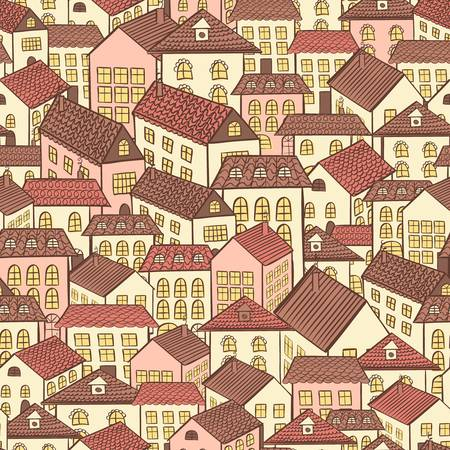 repetition: seamless pattern town houses chocolate illustration