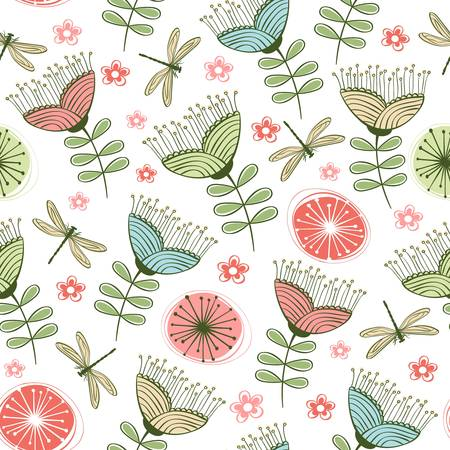 seamless vintage flower pattern line art  illustration