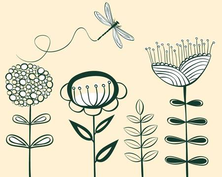 seamless vintage flower pattern line art  illustration Vector