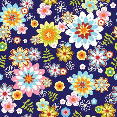 cute abstract seamless floral pattern  Colorful illustration Illustration