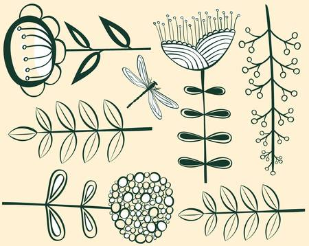 seamless vintage flower pattern herbarium illustration Vector