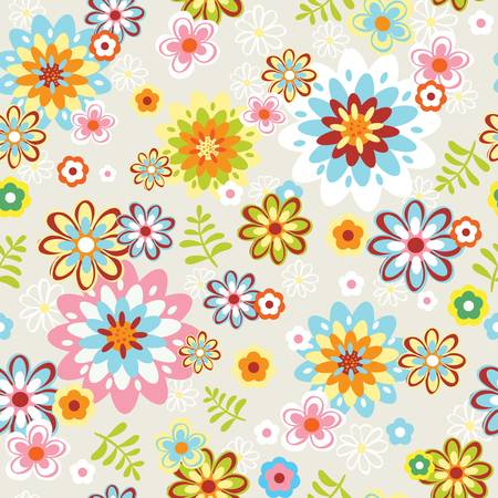 cute seamless vintage flower pattern line art illustration Vector