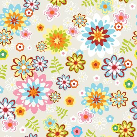 cute seamless vintage flower pattern line art illustration Illustration