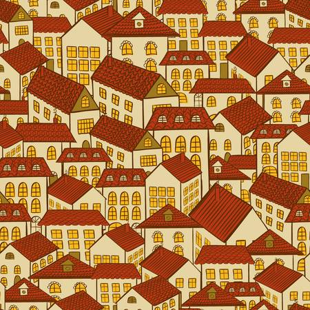 seamless pattern town houses illustration Vector