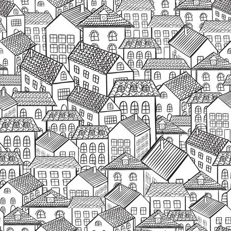 endless: seamless pattern town houses illustration