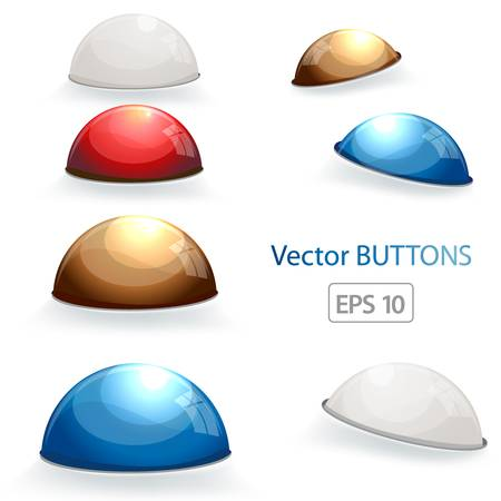 Set of abstract glossy button  Colorful illustration Stock Vector - 12842691