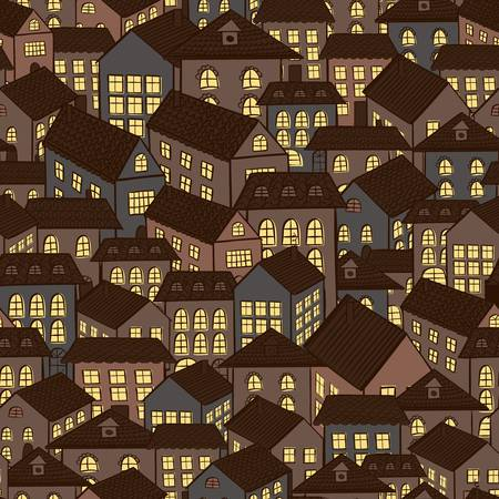 seamless night town houses background illustration Vector