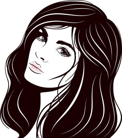 tatouage visage: belle illustration vectorielle visage femme