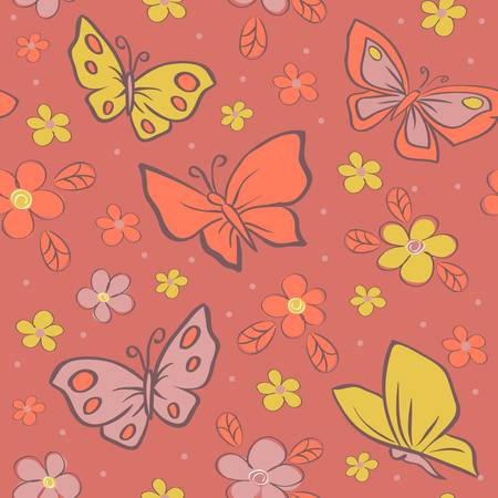 seamless vector background with butterfly  Colorful illustration  Vector