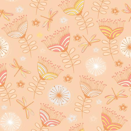 seamless vintage flower pattern background  Vector illustration Vector