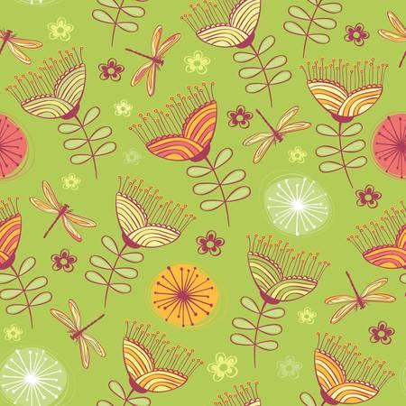 geranium color: seamless vintage flower pattern background  Vector illustration