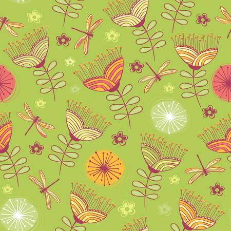 geranium: seamless vintage flower pattern background  Vector illustration