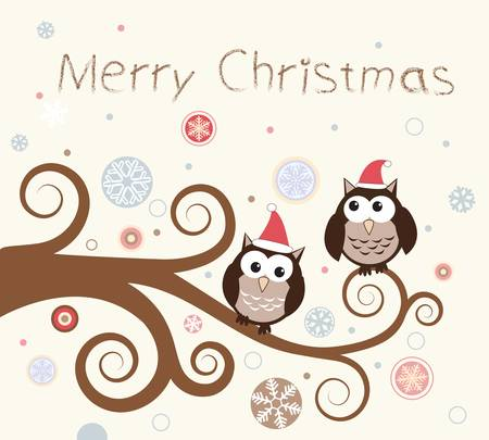 Christmas card  Birds on a winter branch Vector