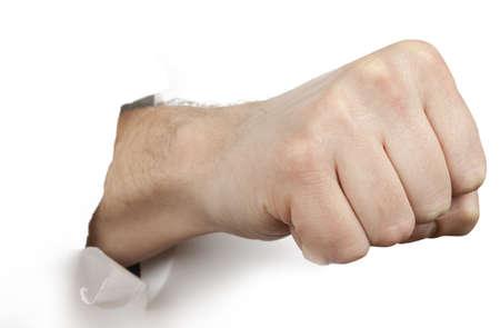 puÑos: Papel perforación puño aislado en fondo blanco