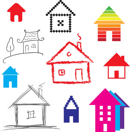 settlement: Simple stylized icon of houses  Abstract sign of real estate  illustration