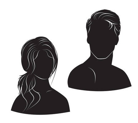 haircut: face man and woman on white background