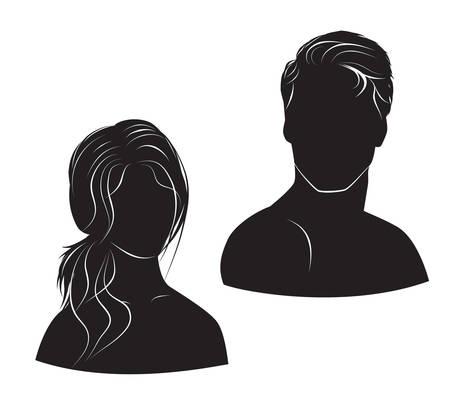 stile: viso uomo e donna su sfondo bianco Vettoriali