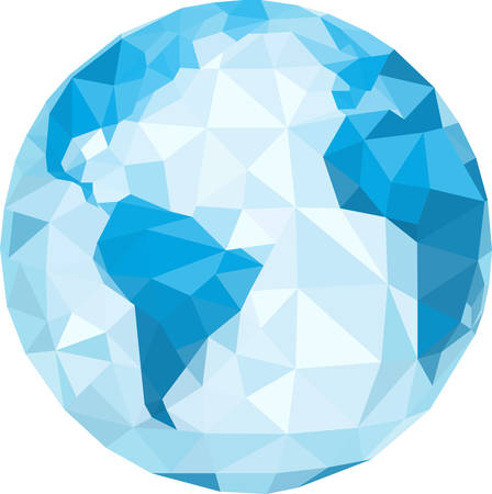 world  hexagon: polygonal globe  Vector illustration