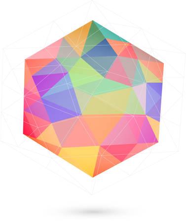arte optico: icosaedro colorido para el diseño gráfico Vectores
