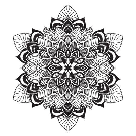 Contemporary doily round lace floral pattern card, circle, mandala Vector