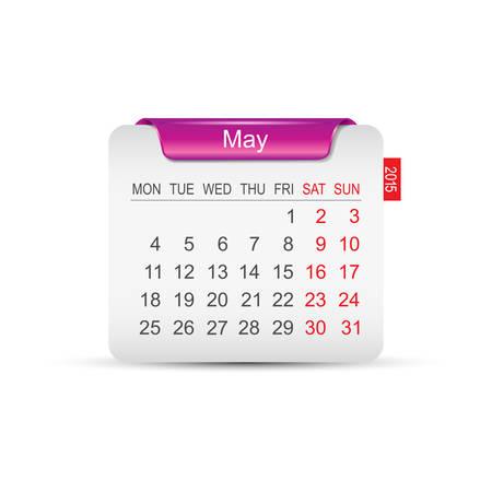 Calendar May 2015. Vector illustration. Design element.