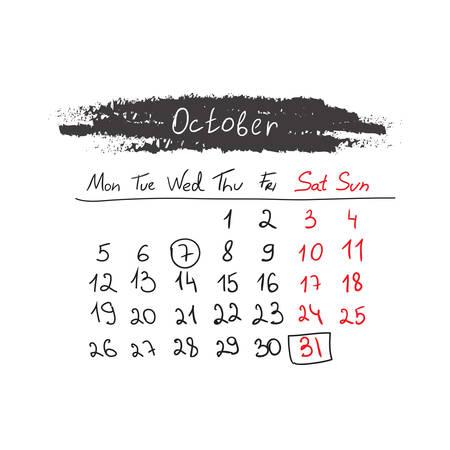 kalender oktober: Hand getrokken kalender oktober 2015.