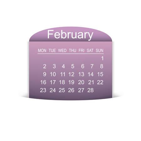 Calendar February 2015.  Illustration
