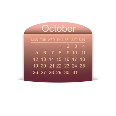 agenda year planner: Calendar October 2015. Vector illustration. Design element. Illustration