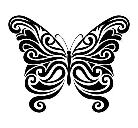 Decorative ornamental butterfly silhouette.