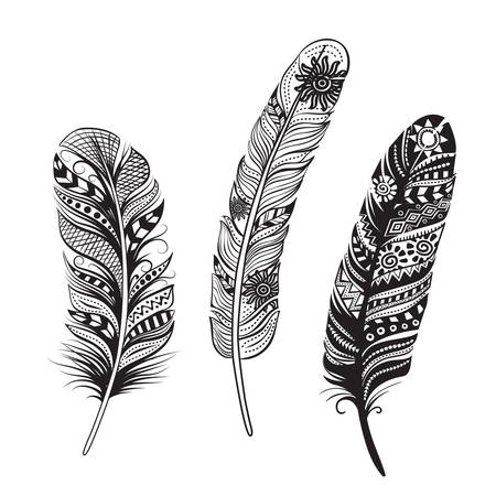 indian tattoo: Feathers of birds. Black and White style.