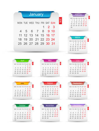 New year 2016 calendar design. Illustration