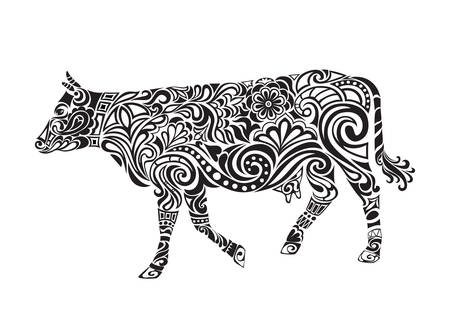 engrave: Cow ornament. Cow drawing with floral ornament decoration.