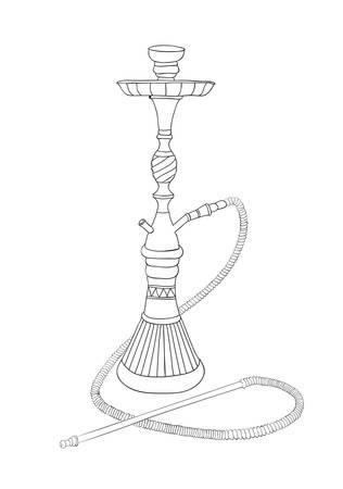 hooka: East nargila sketch background. Handmade vector illustration.