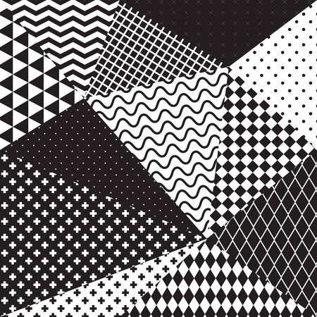 black and white geometric seamless pattern. Vector illustration.
