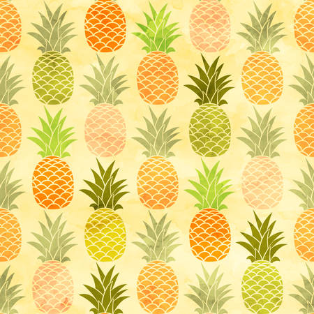 Watercolor pineapple seamless pattern taste fruit background.  イラスト・ベクター素材