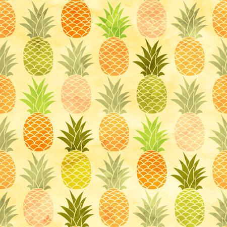 exotic fruits: Watercolor pineapple seamless pattern taste fruit background. Illustration
