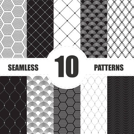repetition: Vintage set seamless elements design . Vector illustration. Illustration
