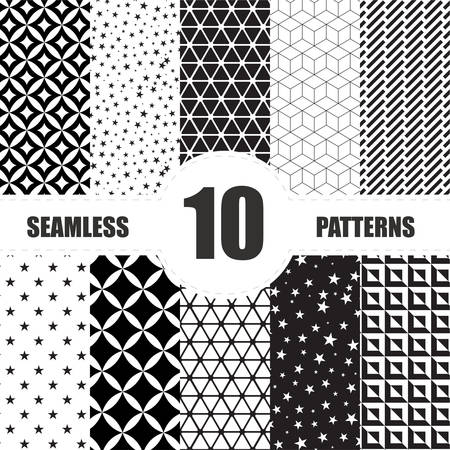 fabric pattern: Vintage set seamless elements design . Vector illustration. Illustration