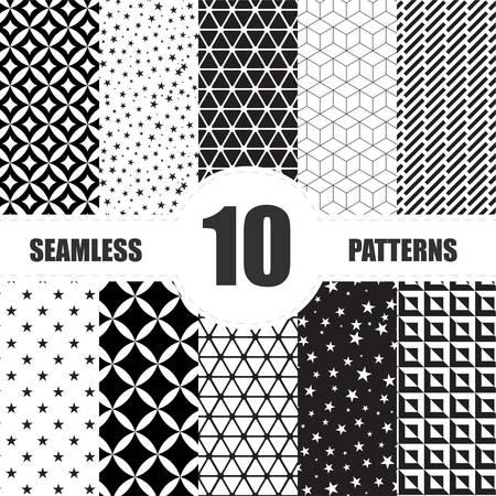 black fabric: Vintage set seamless elements design . Vector illustration. Illustration
